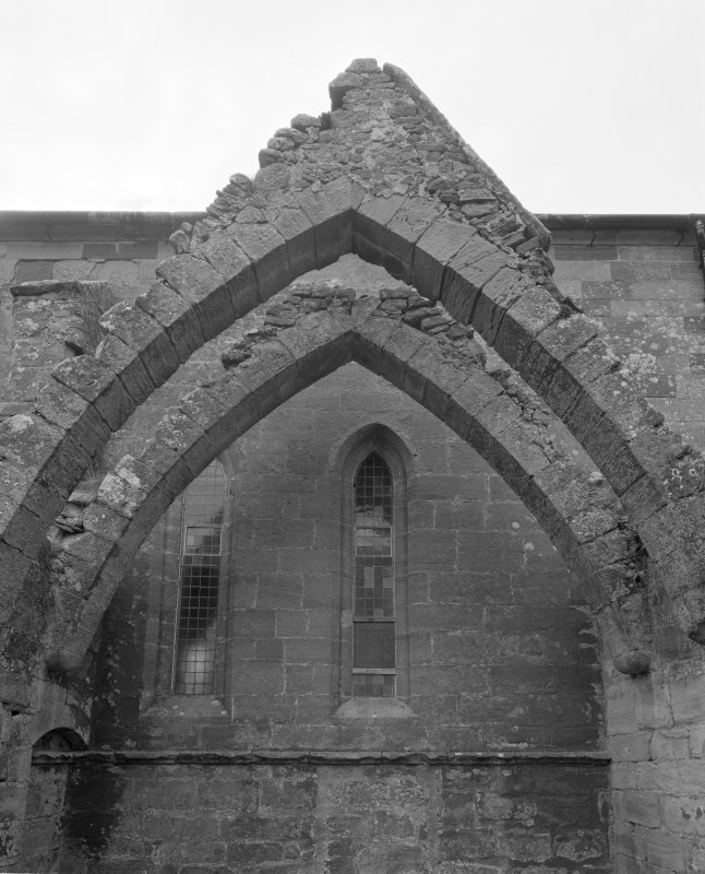 Fearn Abbey.  Ross aisle, view of vaulting ribs from North.