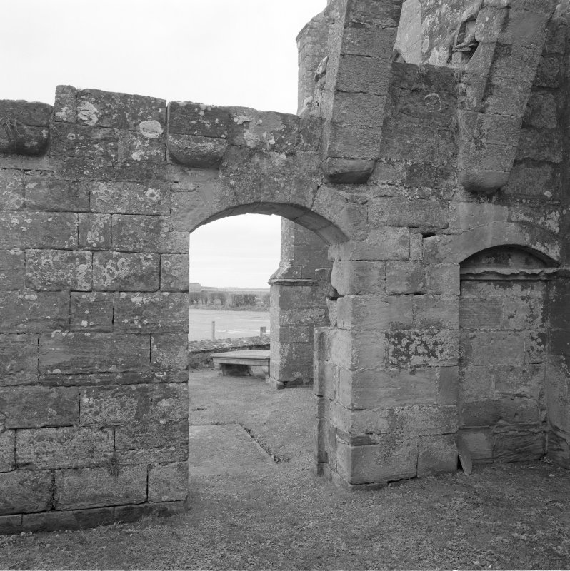 Fearn Abbey.  Ross aisle, view of doorway from North West.