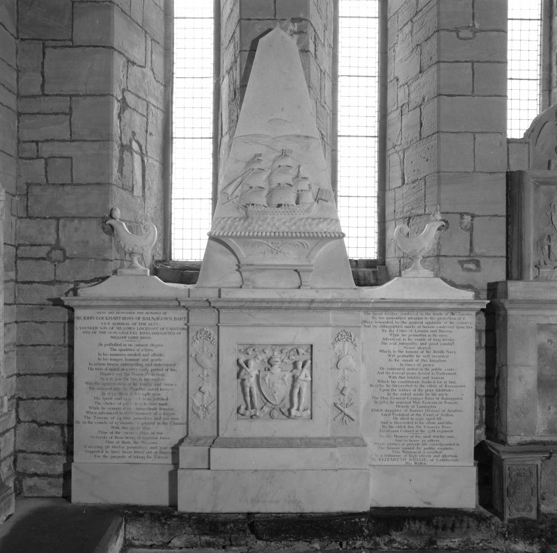 Fearn Abbey, interior.  View of Ross monument, East wall of church.