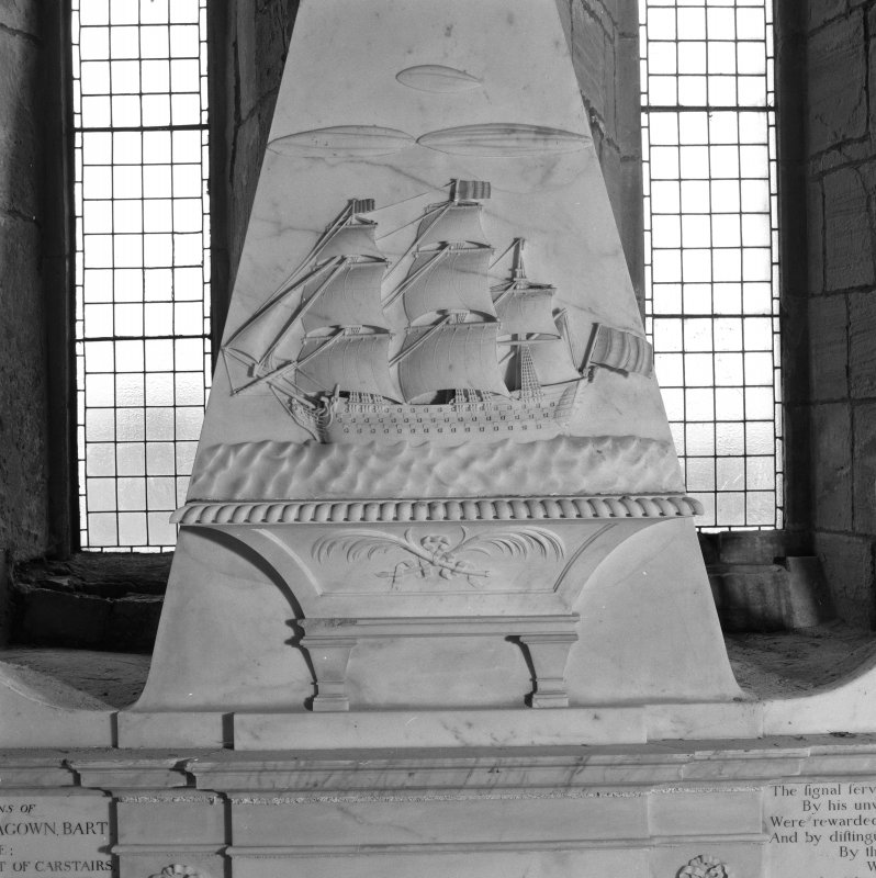 Fearn Abbey, interior.  Detail of square-rigged ship on Ross monument.