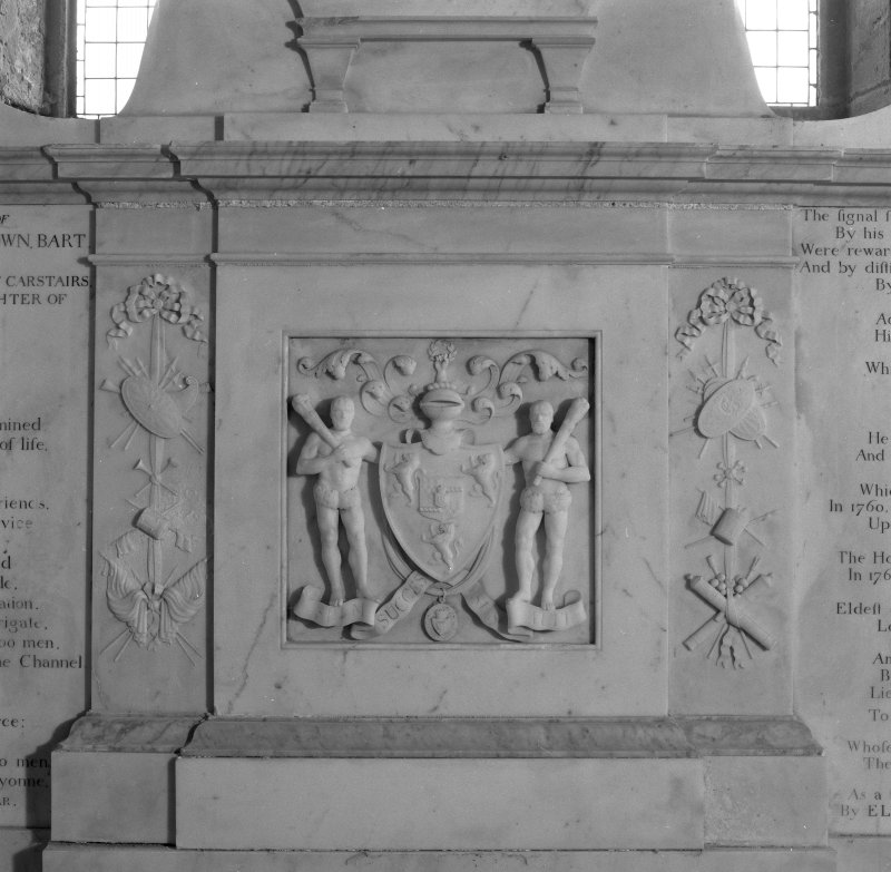 Fearn Abbey, interior.  Detail of Coat of Arms on Ross monument.