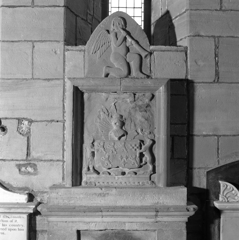 Fearn Abbey, interior.  Detail of Coat of arms on monument on East wall.