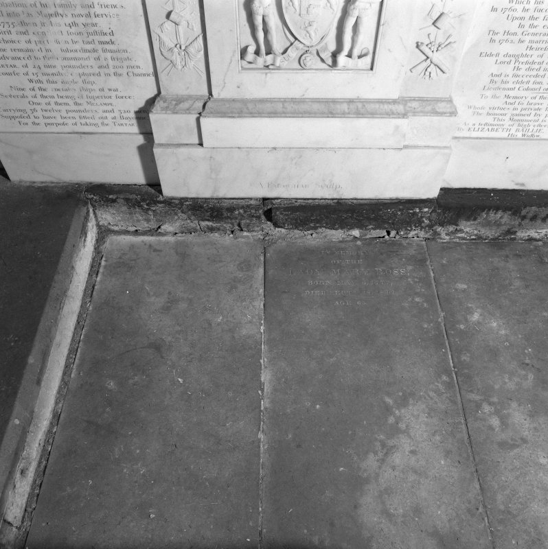 Fearn Abbey, interior.  Detail of tomb slabs in North East corner of church.