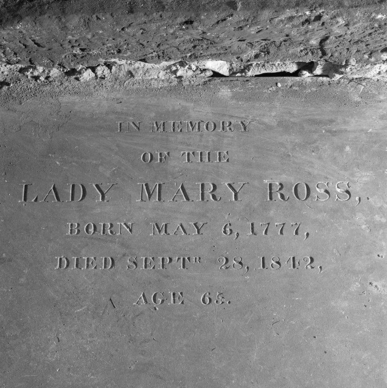 Fearn Abbey, interior.  Detail of inscription on tomb slab of Lady Mary Ross.