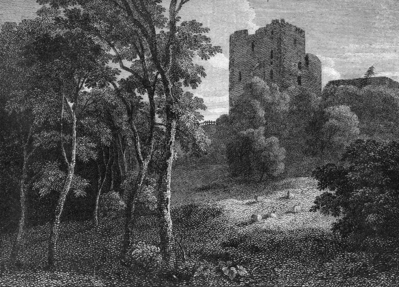 Glasgow, Old Castle Road, Cathcart Castle. Engraving showing general view with foliage. Titled: 'Cathcart Castle.  For the Scots Mag. & Edinr. Lity. Musy. pub. by A. Constable & Co. 1 Aug. 1809.  H. W. Williams delt.  R. Scott Sculpt.'