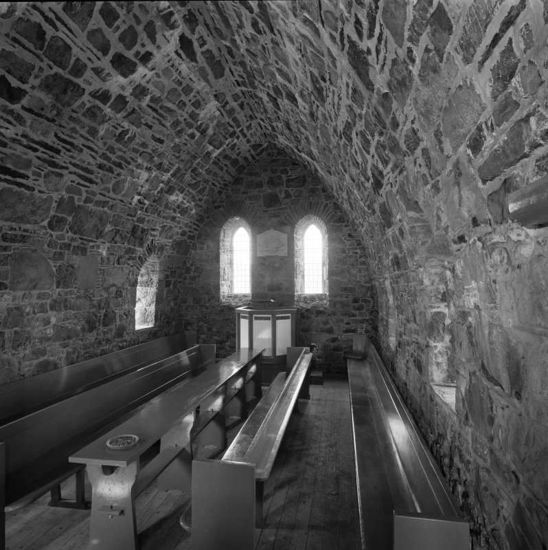 Canna, Church of Scotland. View of interior from W end.