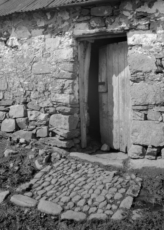 Auchindrain, Building D. View of byre doorway showing cruck-blade.