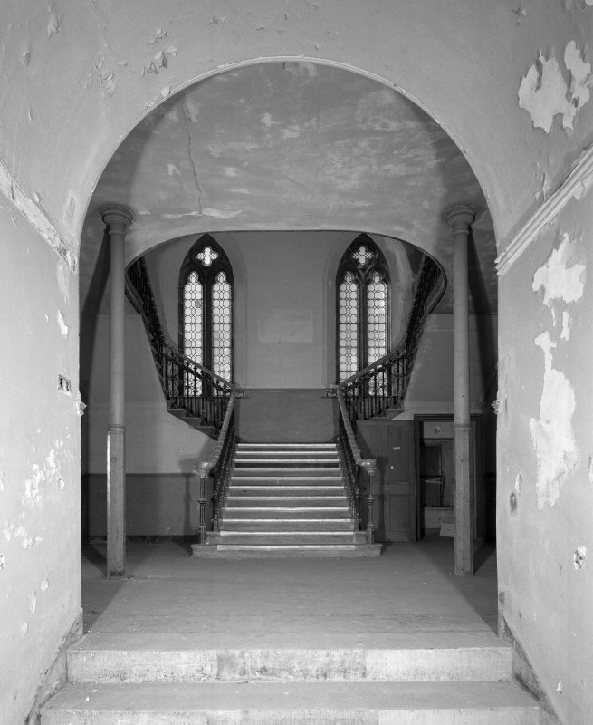 View of west stair hall fom lower hall corridor