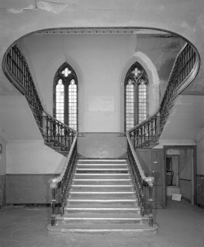 Interior view of west stair hall from east, Highland Church of Tolbooth St John's, Edinburgh.