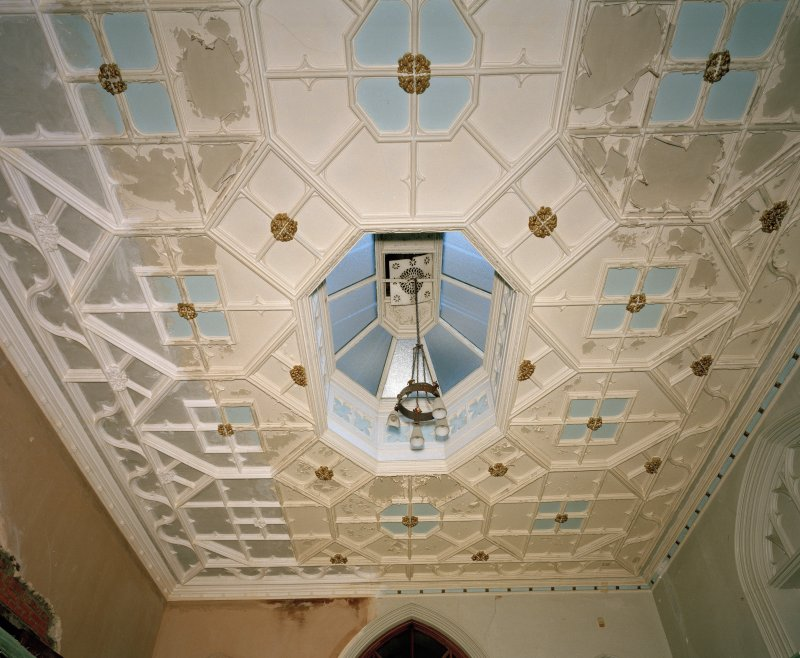 View of west stair hall plaster ceiling