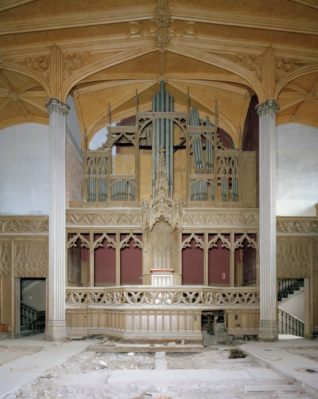 View of pulpit and organ pipes