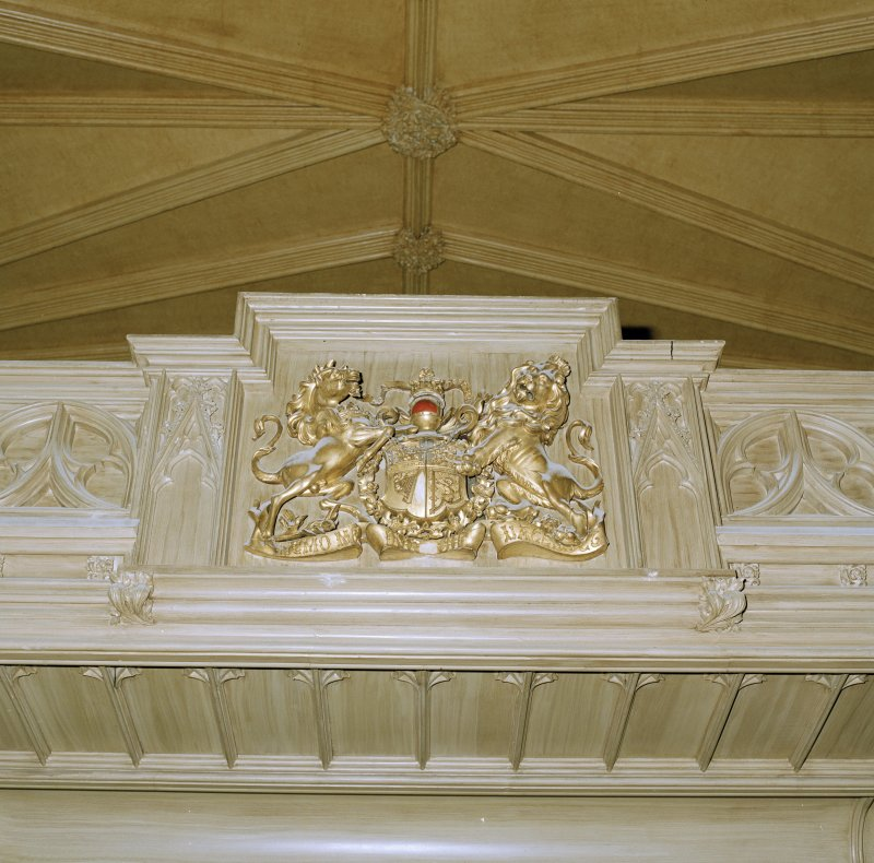 Detail of coat of arms on gallery front