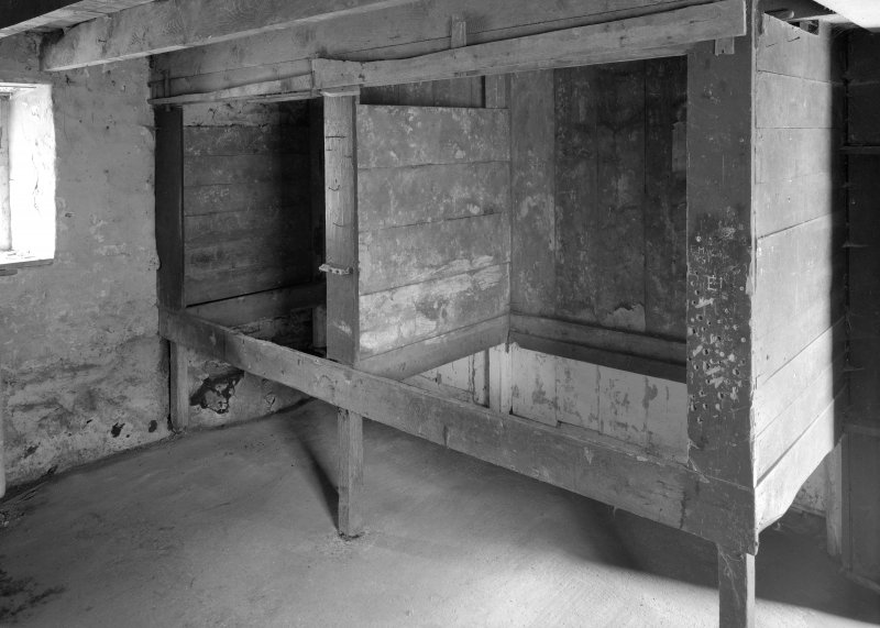 Auchindrain, Building H, interior. View of box beds.