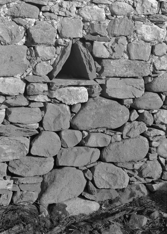 Auchindrain, Building N. Detail of triangular ventilator in barn.