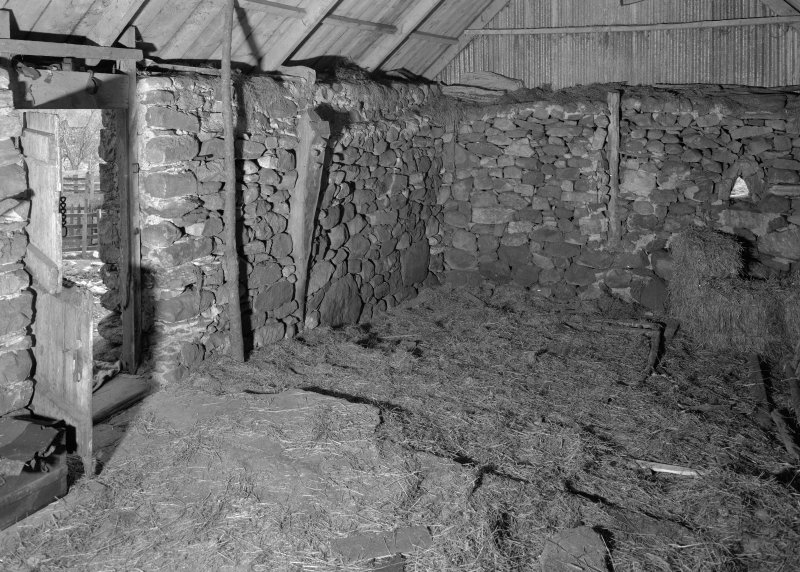 Auchindrain, Building N, interior. View showing stumps of transverse and hip-end crucks..