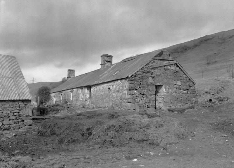 Auchindrain, Building A. View of house and byre from East.