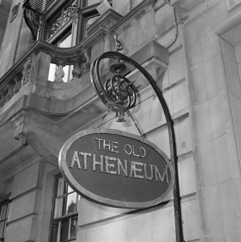 External hanging sign (`The Old Athenaeum'), detail
