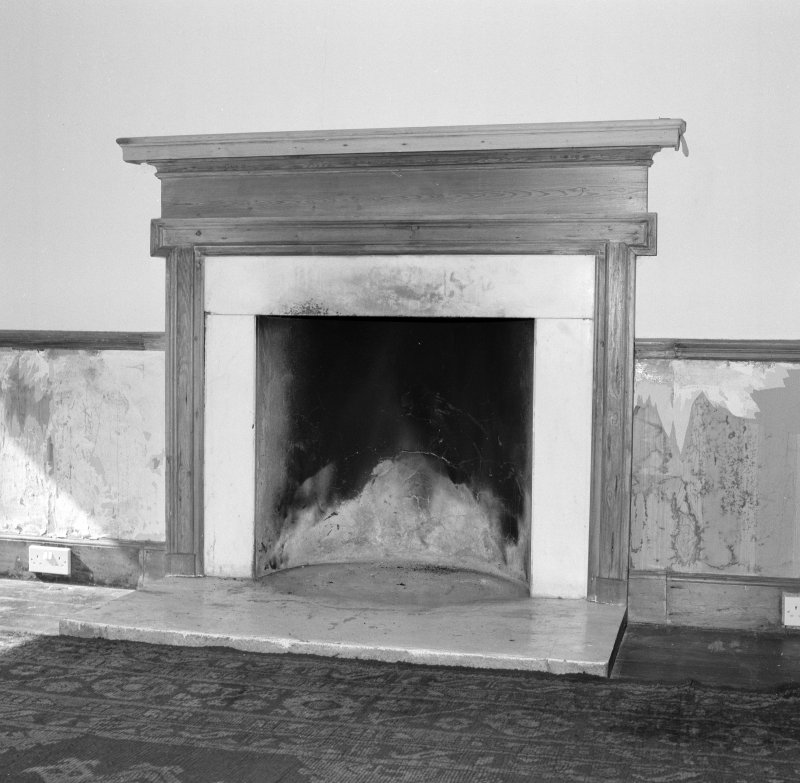 Ground floor, billiard room, fireplace, detail