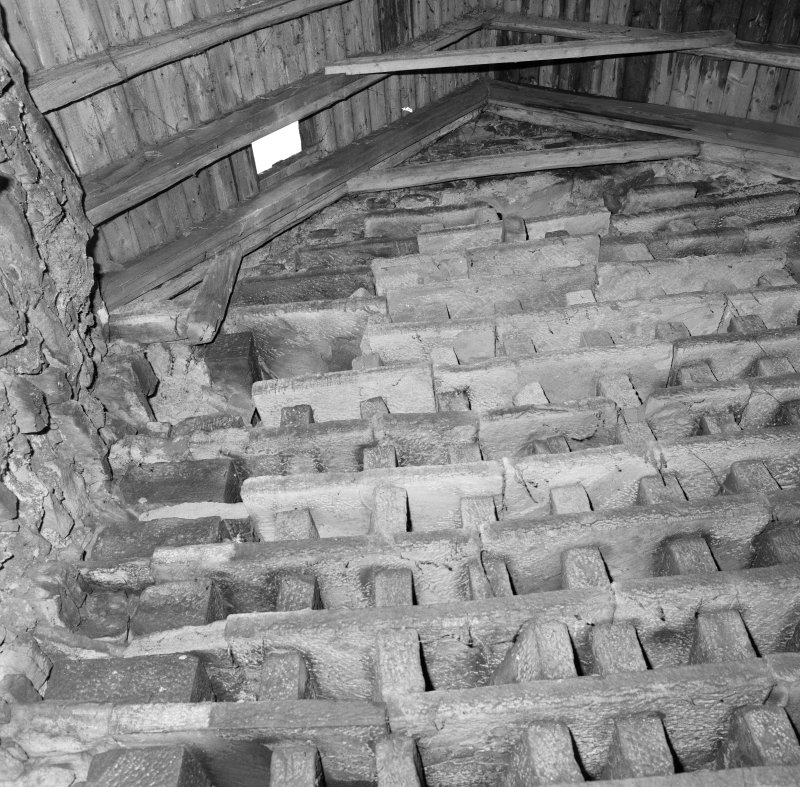 Nesting boxes surmounted by rafters and collar-beam, detail