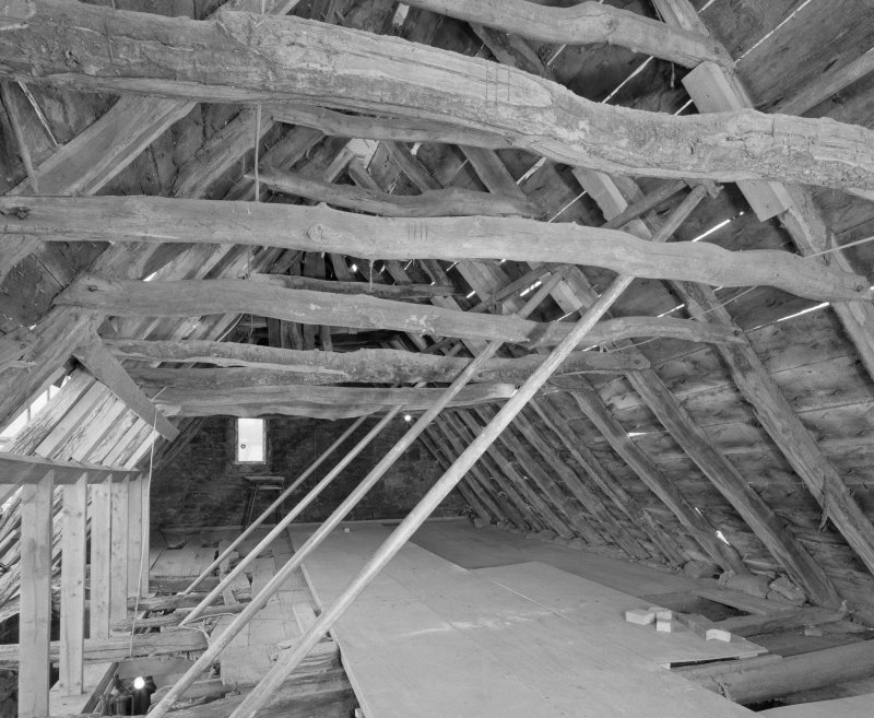 View of roof structure from W.