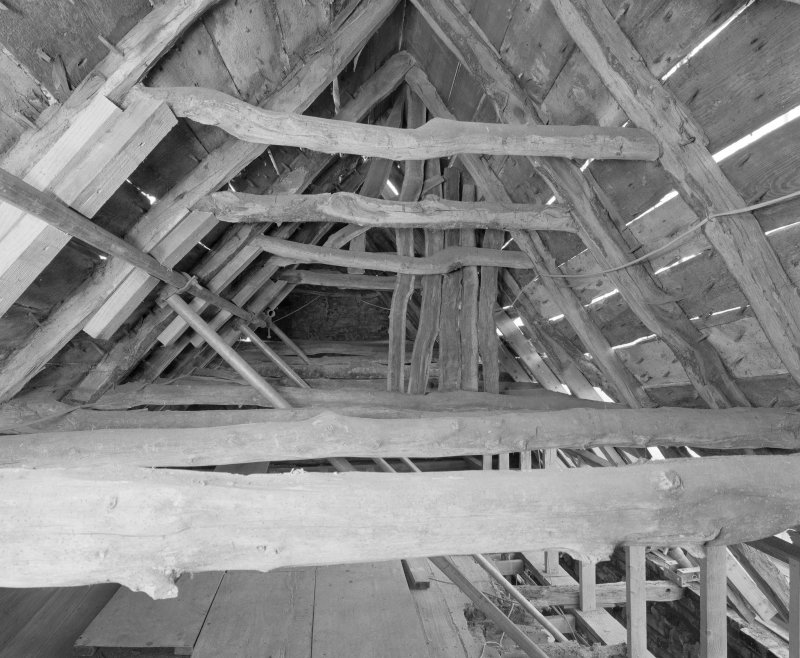 View of roof structure from E.