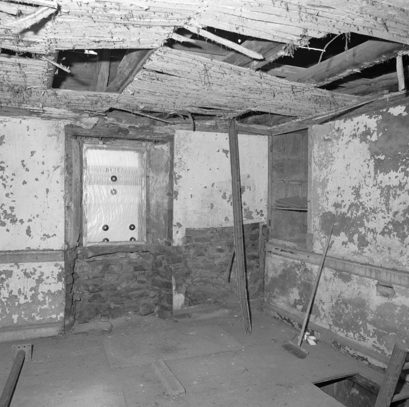Interior. View of first floor W room from NW.
