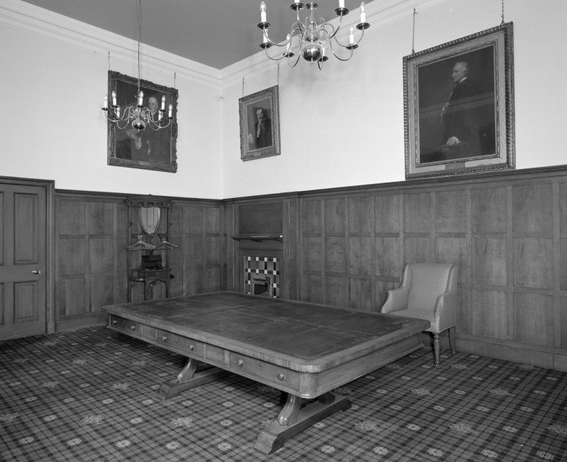 Interior. Moderators suite view of second floor room from South