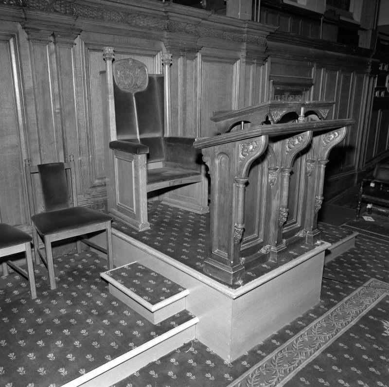 Interior. Assembly Hall detail of lectern