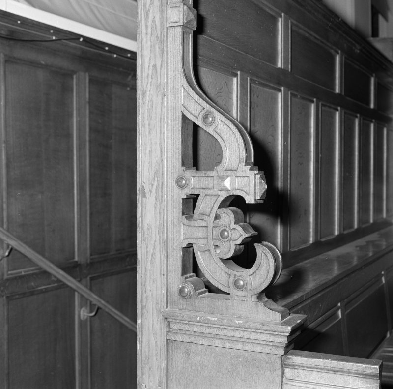 Interior. Assembly Hall detail of woodwork