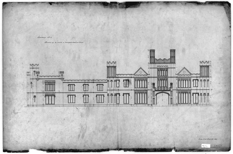 Photographic copy of drawing showing North elevation.