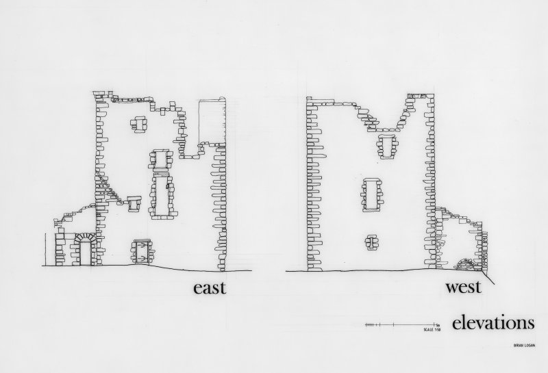 Glasgow, Old Castle Road, Cathcart Castle. Drawing of East and West elevations. Titled: 'East' 'West elevations'.
