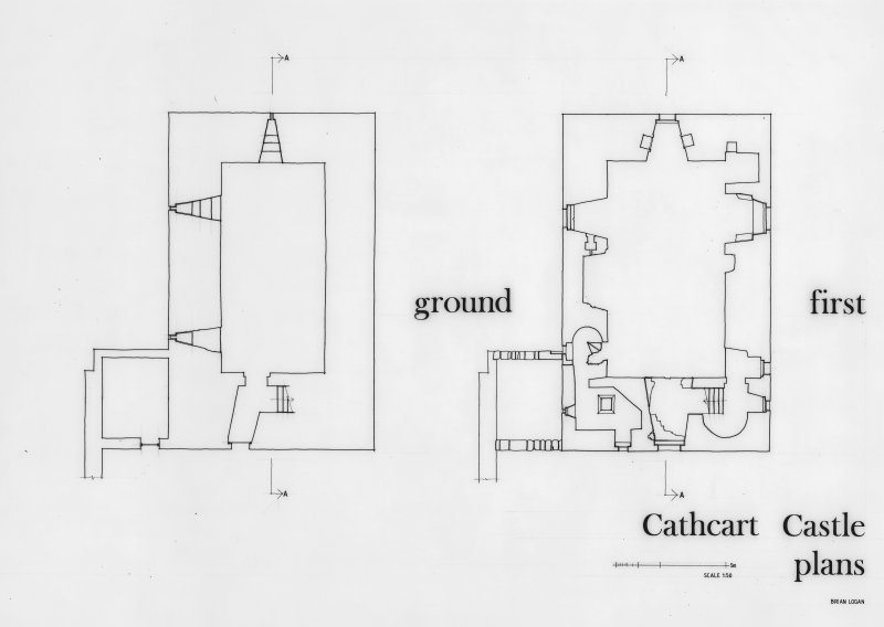 Glasgow, Old Castle Road, Cathcart Castle. Drawing of floor plans. Titled: 'Ground' 'First' 'Cathcart Castle plans'.