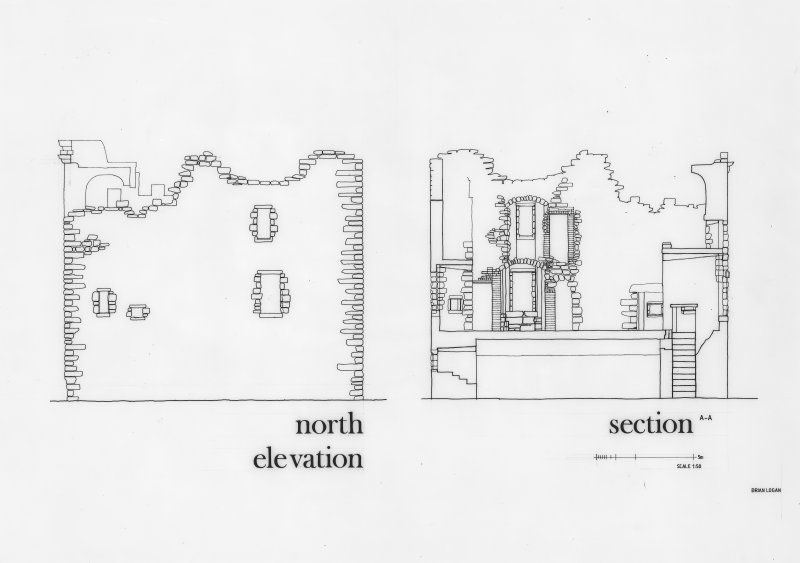 Glasgow, Old Castle Road, Cathcart Castle. Drawing of North elevation and section. Titled: 'North elevation' 'Section AA'