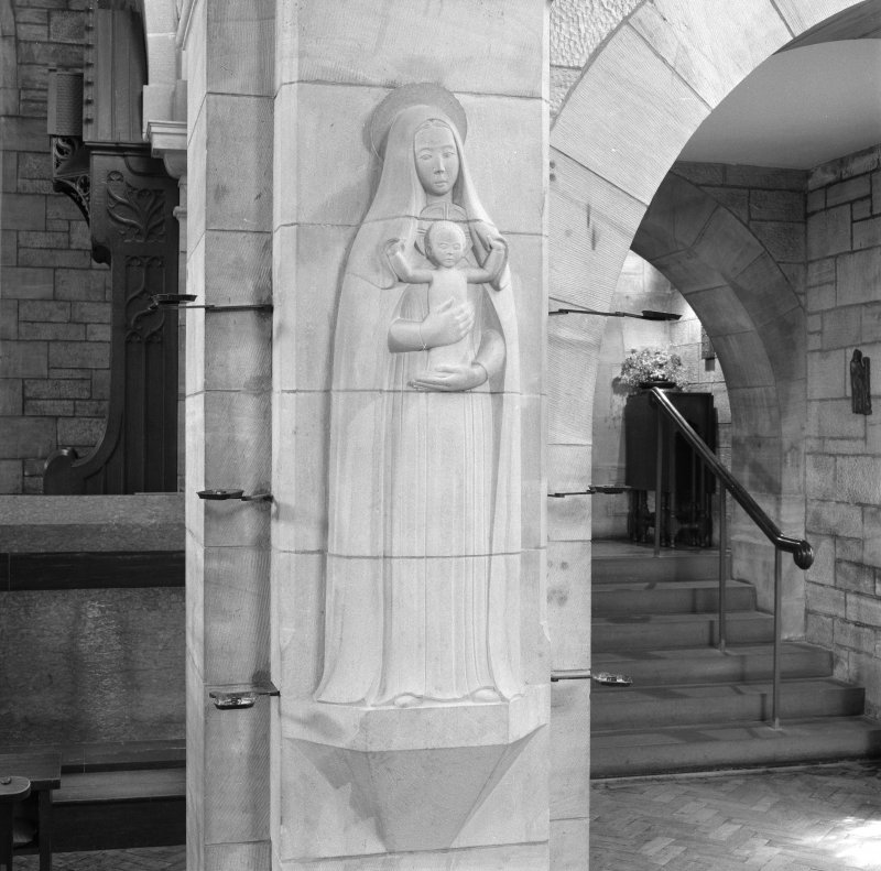 All Saints Episcopal Church, interior.  Detail of Virgin and Child sculpture by Hew Lorimer on pillar in nave.