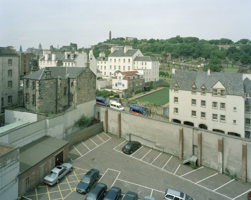 Elevated view of rear of Canongate wall