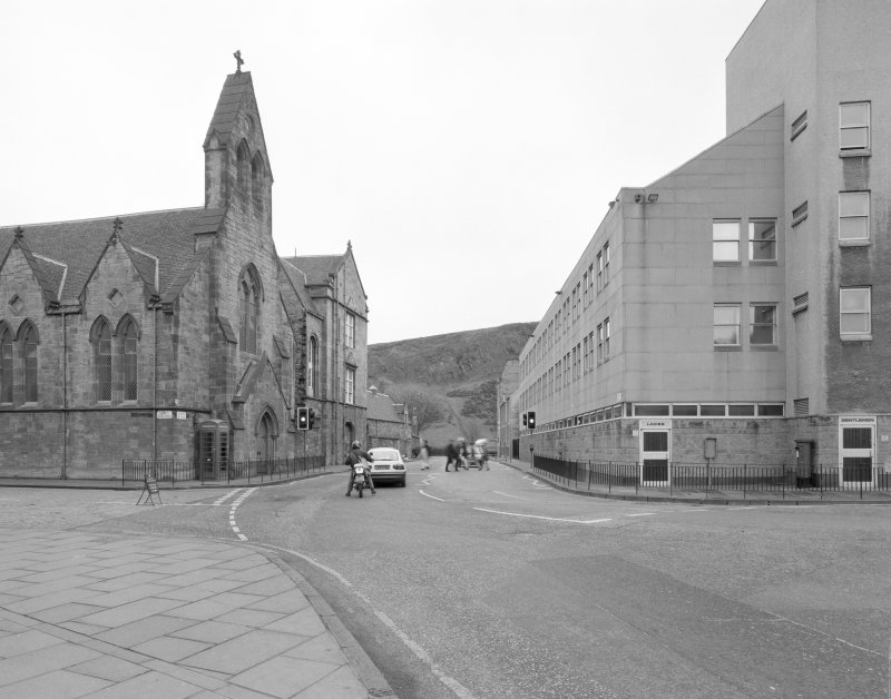 Canongate, brewery headquarters building, general view from N showing public conveniences and Holyrood Palace service buildings.