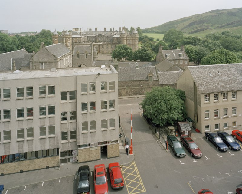 Elevated view of entrance to brewery courtyard from Horse Wynd with Holyrood Palace