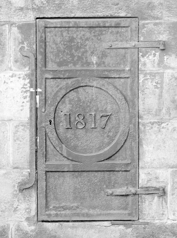 Detail of metal door dated 1817