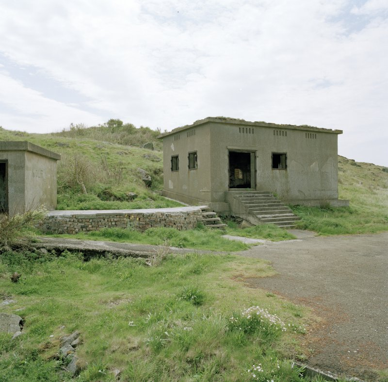 Edinburgh, Cramond Island, Cramond Battery, coast battery. View of gun battery engine house from North East showing entrance with steps, ventilators and steel window shutters..