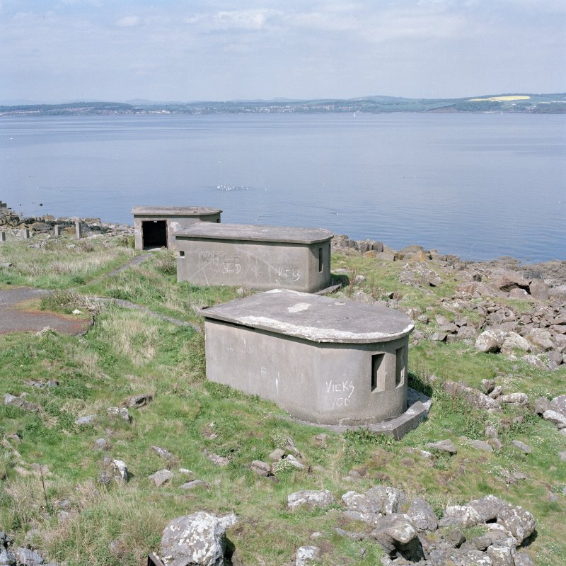 Edinburgh, Cramond Island, Cramond Battery, coast battery. View of later type of searchlight emplacements from South.