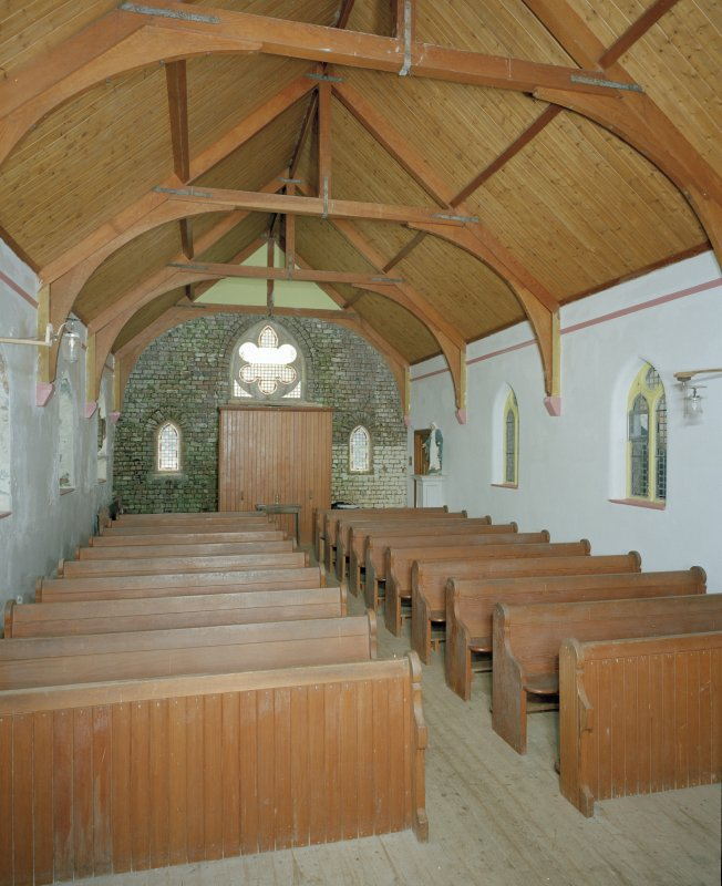 View of church interior from E