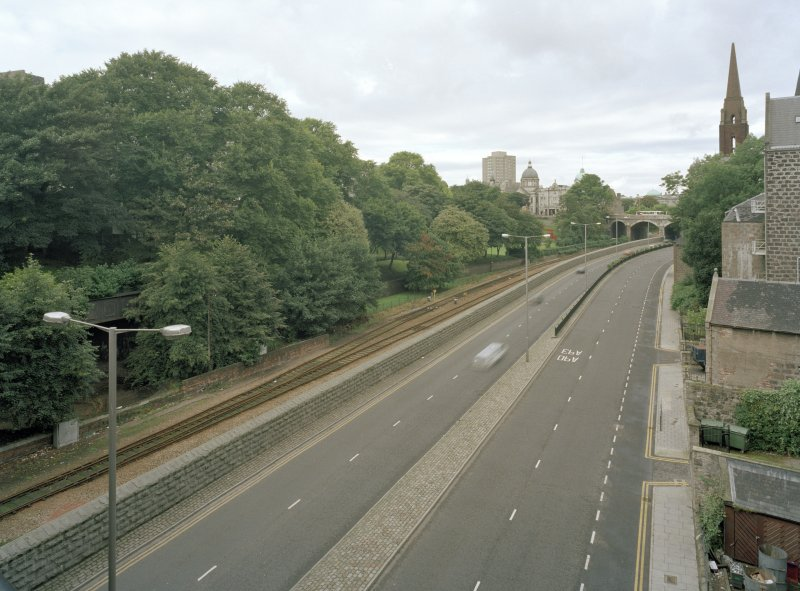 View of gardens and ring road from South East