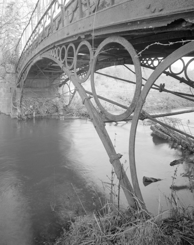 Linlathen East Bridge View of bridge from SW, showing spandrels formed by row of diminishing iron circles.