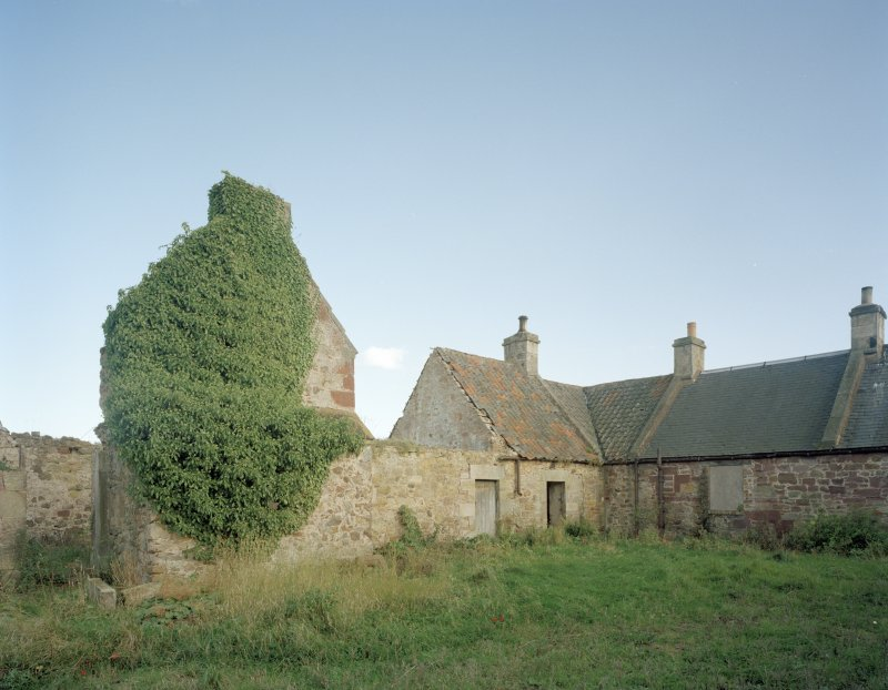 Broadwoodside Farm. View of cottages and remains of gable and ingleneuk from NW.
