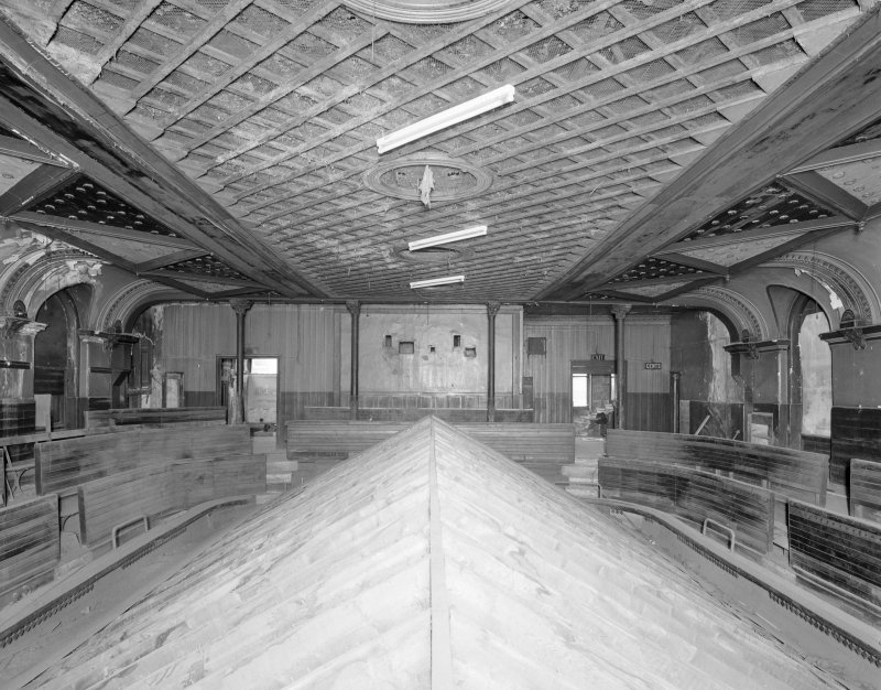 Interior. View of second floor auditorium balcony from S.