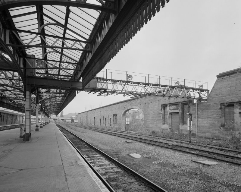 Perth, Leonard Street, General Station Platform 7:  view from north down west side of station, showing remains of wall which previously formed the east side of the car shed