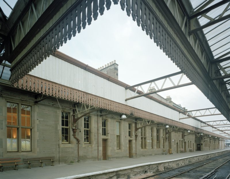 Perth, Leonard Street, General Station Platforms 5 & 6:  view from north west showing details of canopy over platforms, and part of west facade of station offices