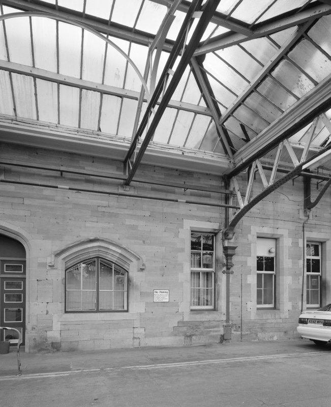 Perth, Leonard Street, General Station Platform 9: detailed view from west of typical window in west face of offices, and of portion of steel-framed glazed canopy