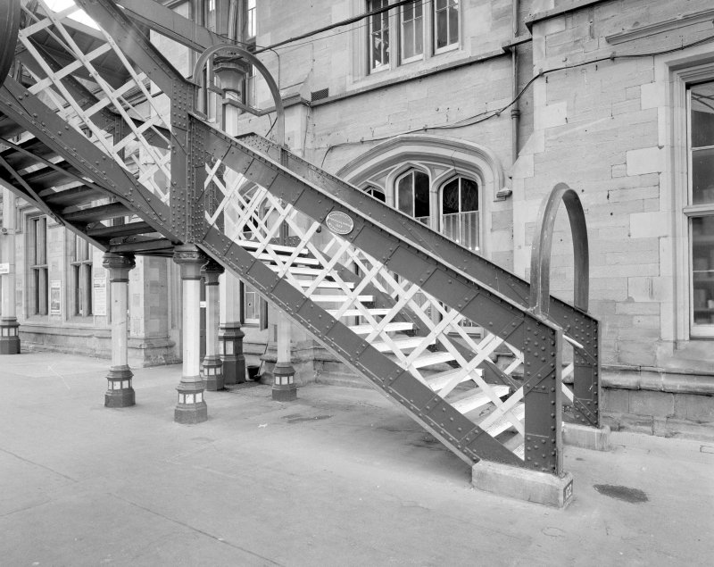 External view of platform 4 stair, Perth Railway Station. Detail of stair leading up to steel footbridge to Platform 3, built by Alex Findlay of Motherwell in 1893.