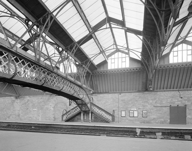 Perth, Leonard Street, General Station Platform 3: view from south west of footbridge from Platform 4, also showing steel-framed, glazed main canopy